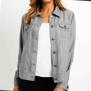 NWT Tahari Gray Tencel Denim Utility Jacket Large